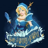 Рисунок Crystal Maiden с одной из своих реплик в подписи.