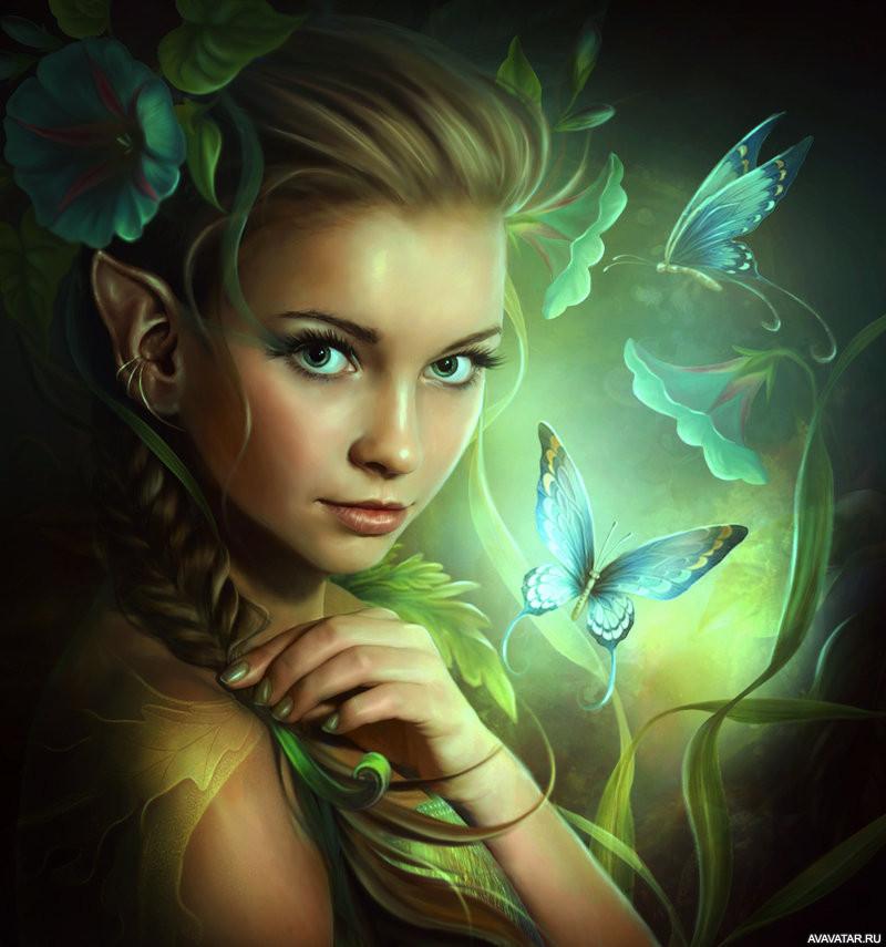 Картинки фэнтези девушки бабочки взгляд, давай