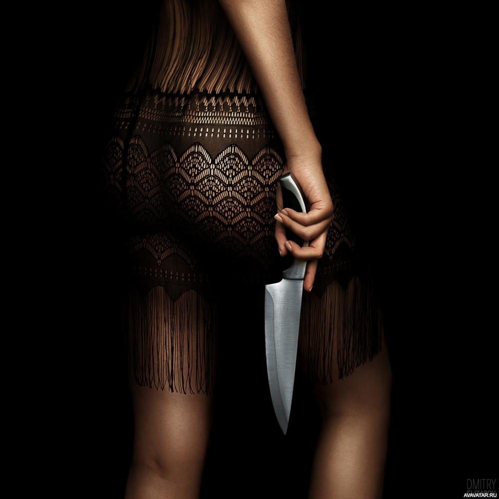 Картинки девушка ножом