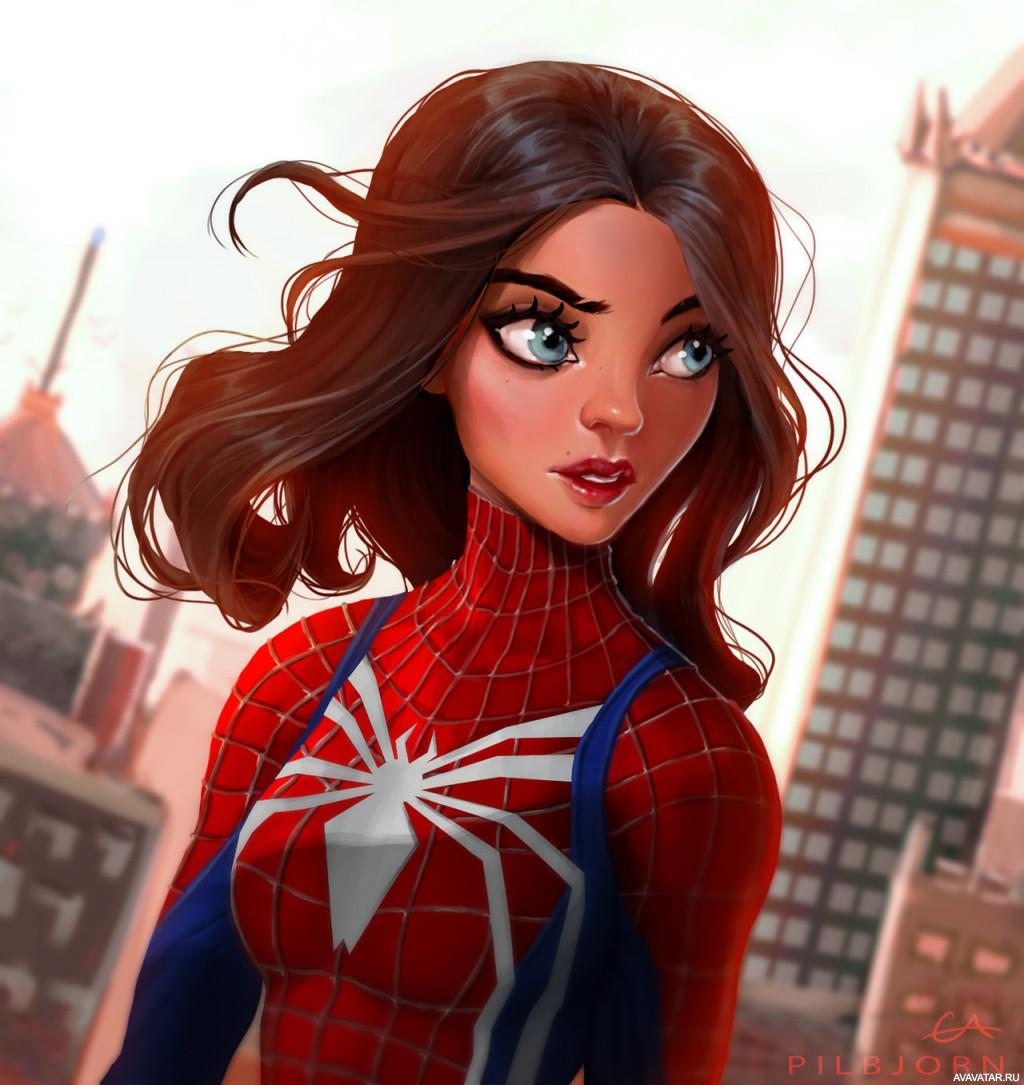 Картинки женщина человек паук