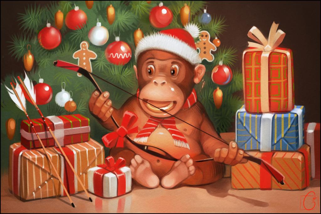 Новогоднее открытка с обезьяной