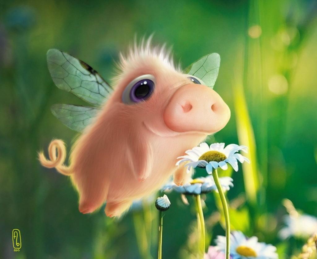 Свинья с цветами фото
