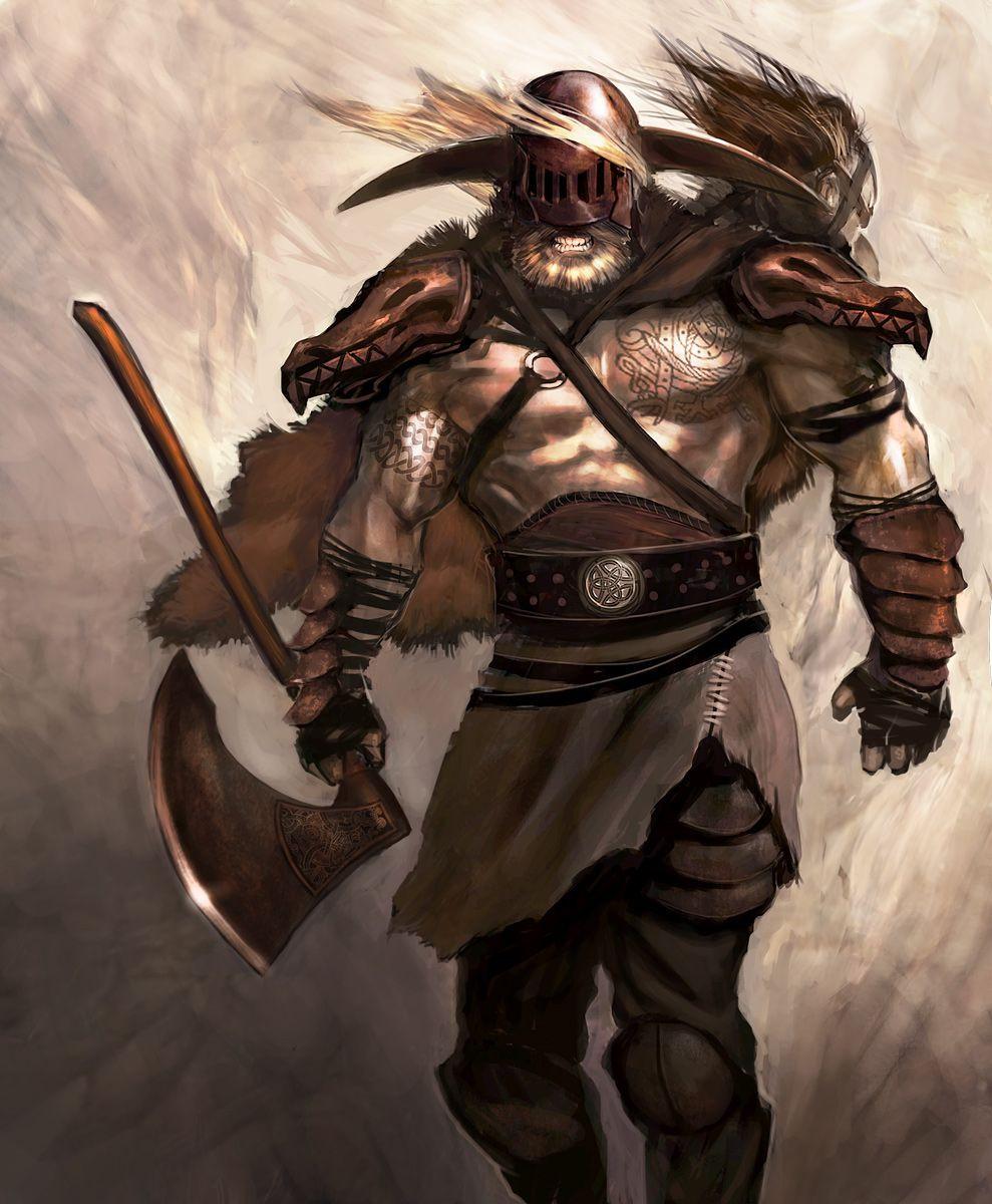 Воин с топором тату