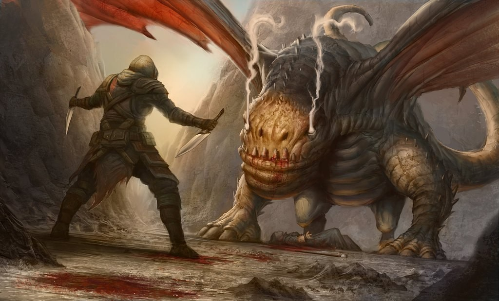картинки нападающие драконы рыцари там