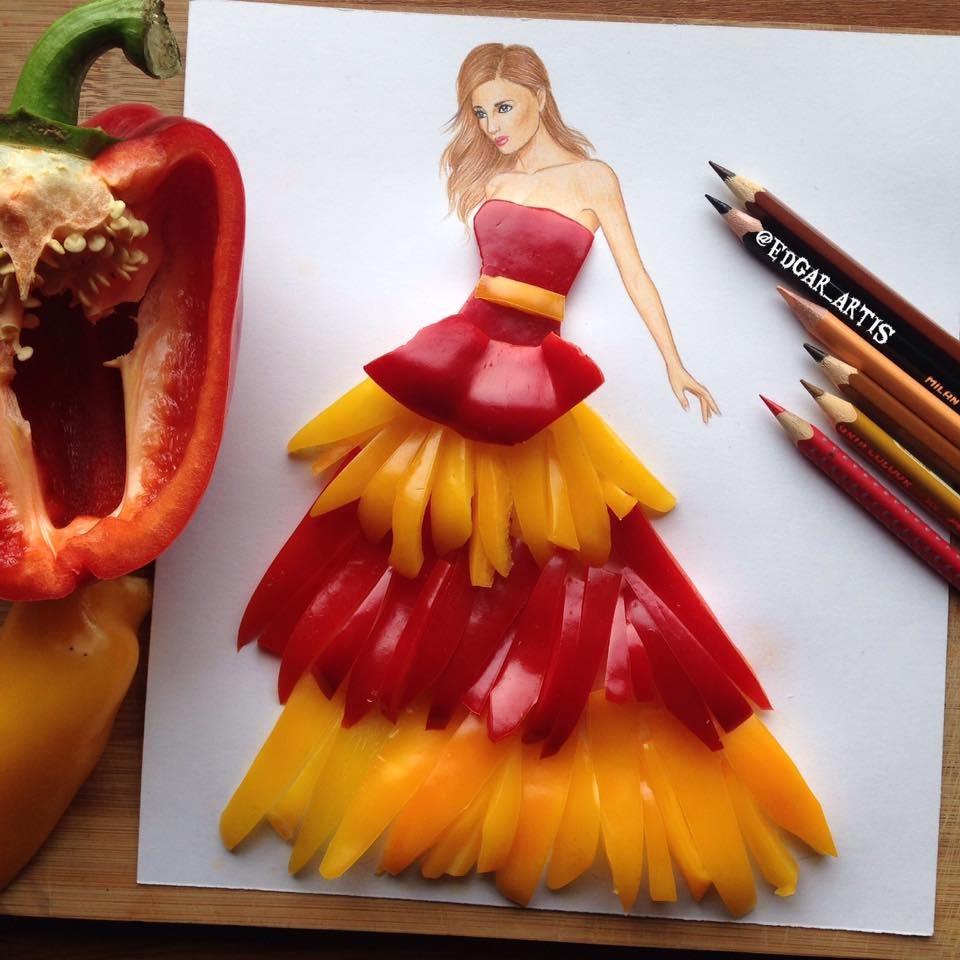 Девушка в платье со стружки